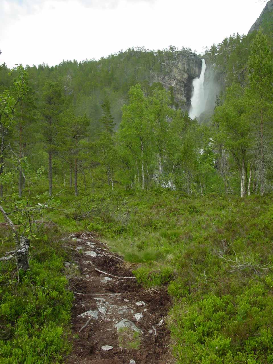 Getting closer to Nauståfossen on the muddy trail