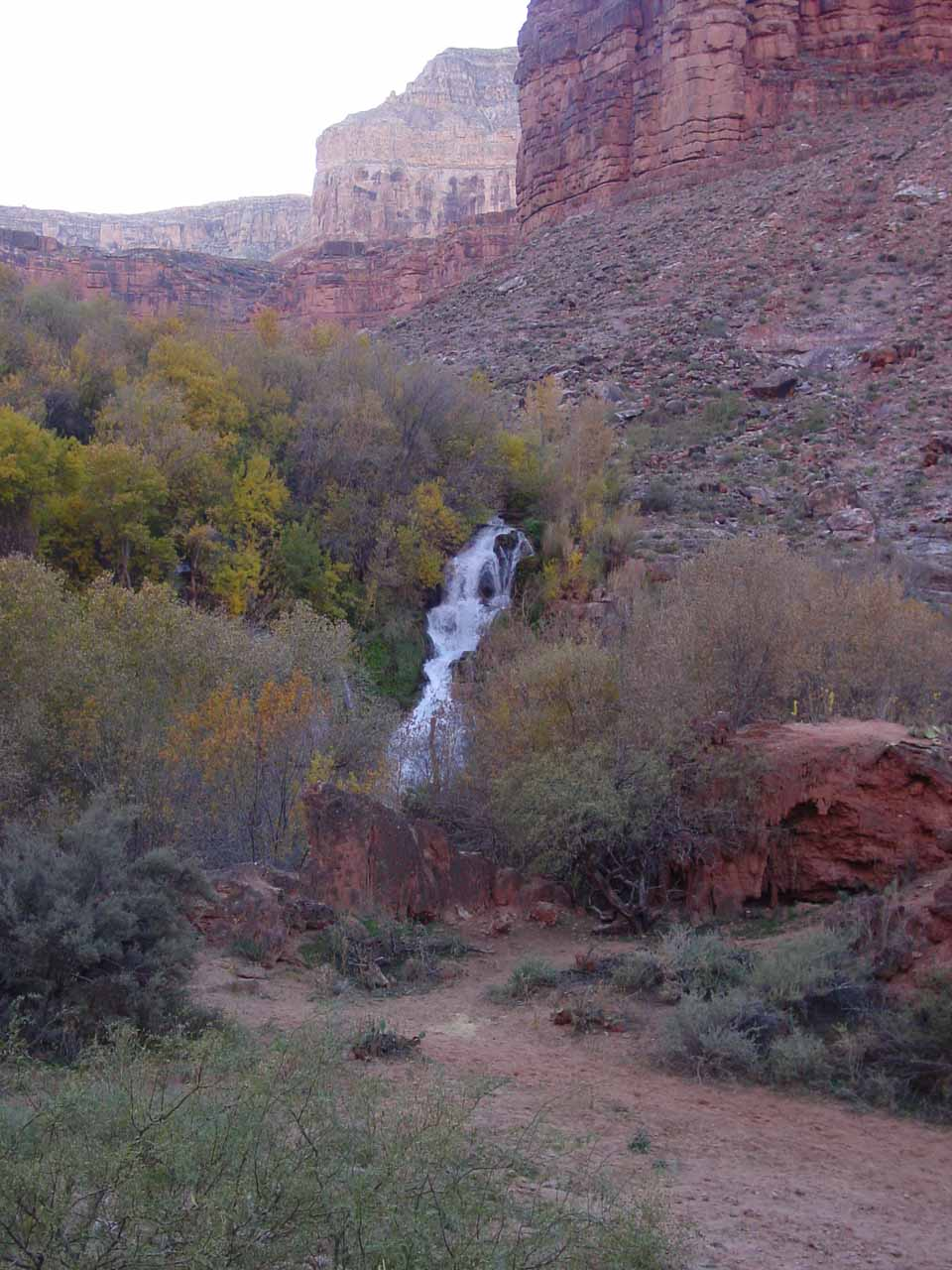 Contextual view of Navajo Falls from the Supai-Havasu Falls trail in November 2002