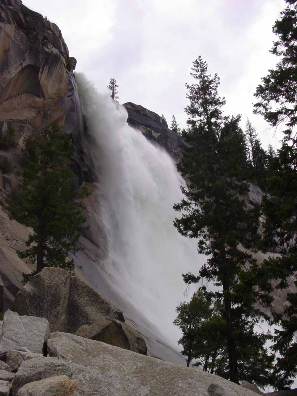The profile of Nevada Fall from the Mist Trail