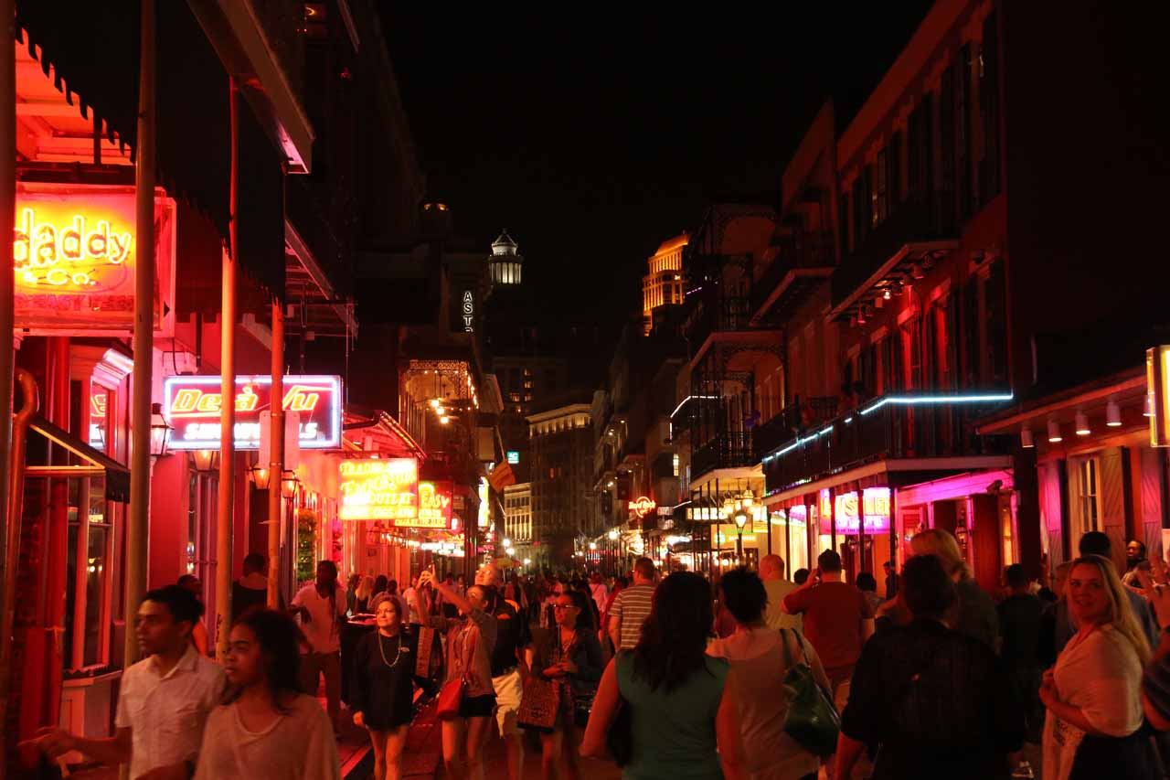 While Royal Street might have commanded more foot traffic during the daylight hours in the French Quarter, Bourbon Street just one block over really came alive in the evening