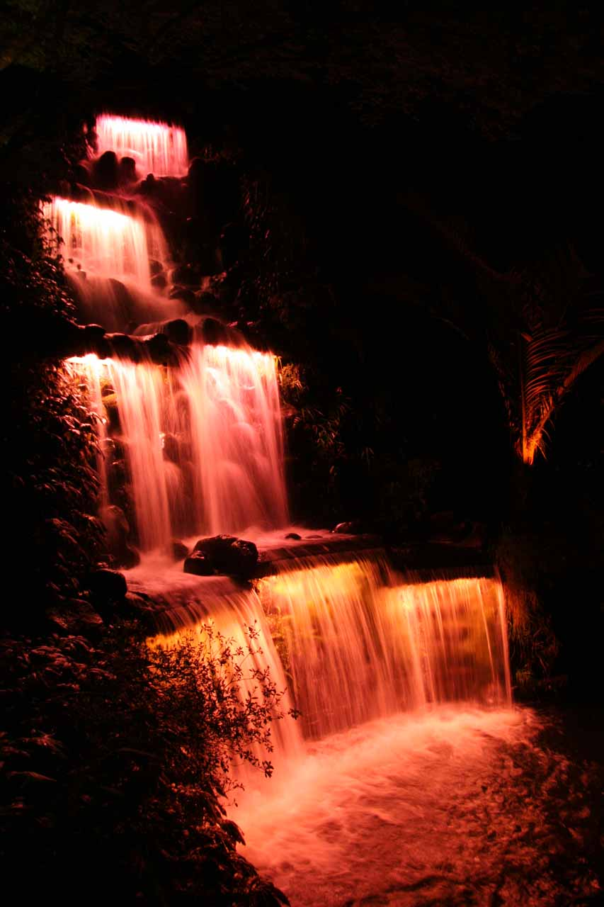 The waterfall at Puka Park (artificial) seen during the Festival of Lights later that evening