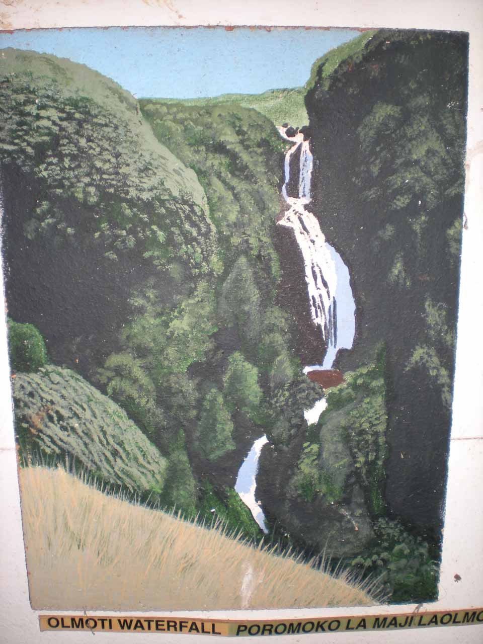 Drawing of the Munge Waterfall