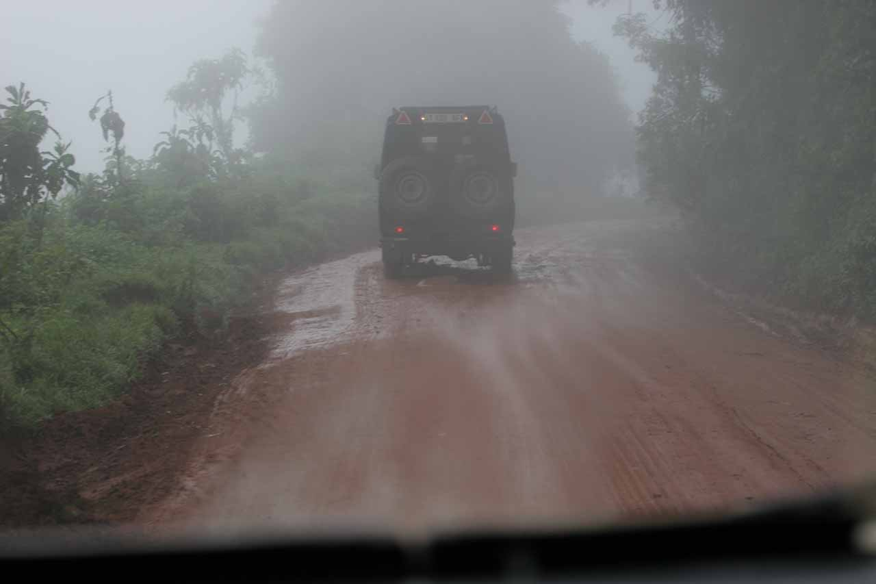 The drizzly unsealed road to Ngorongoro Crater