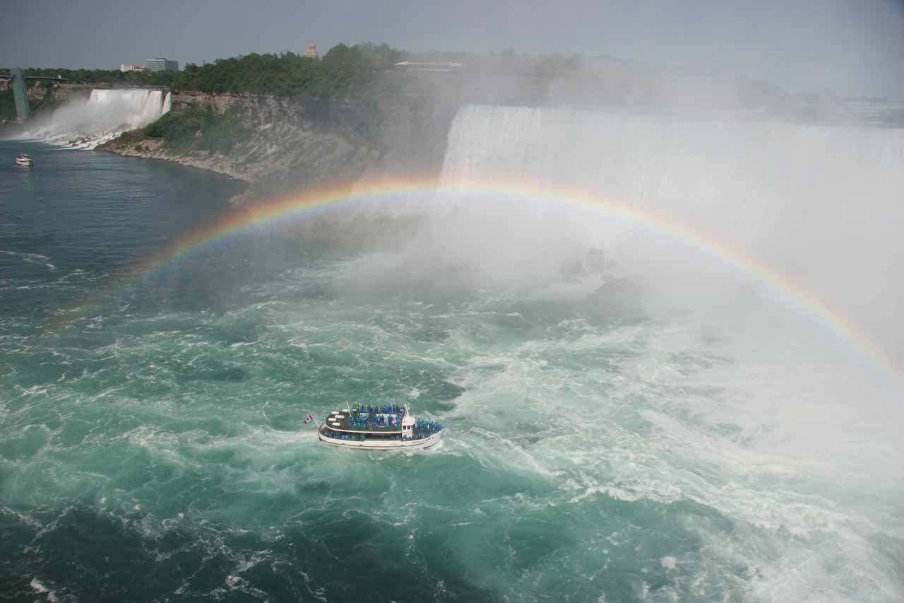 Full rainbow spanning over Maid of the Mist at Niagara Falls demonstrating just how misty it gets here