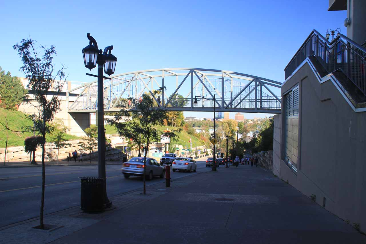 Walking down towards the walkways and views of Niagara Falls