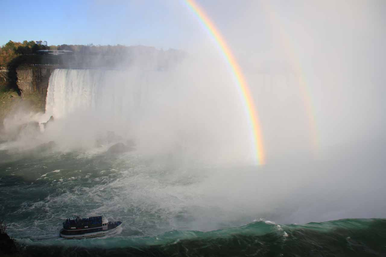 Maid of the mist in the late afternoon shadow before the double rainbow