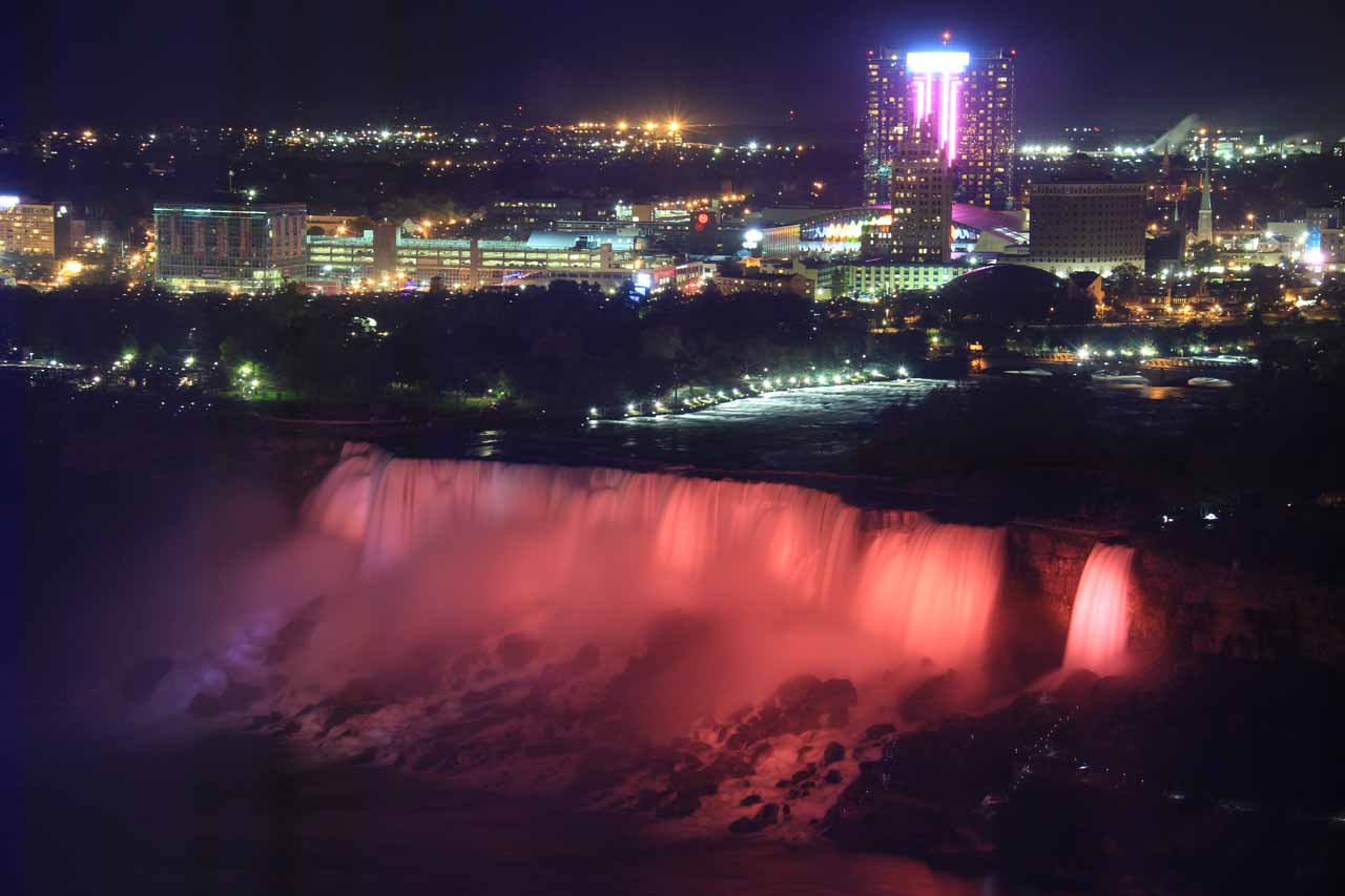 Looking down at the floodlit American Falls from our room