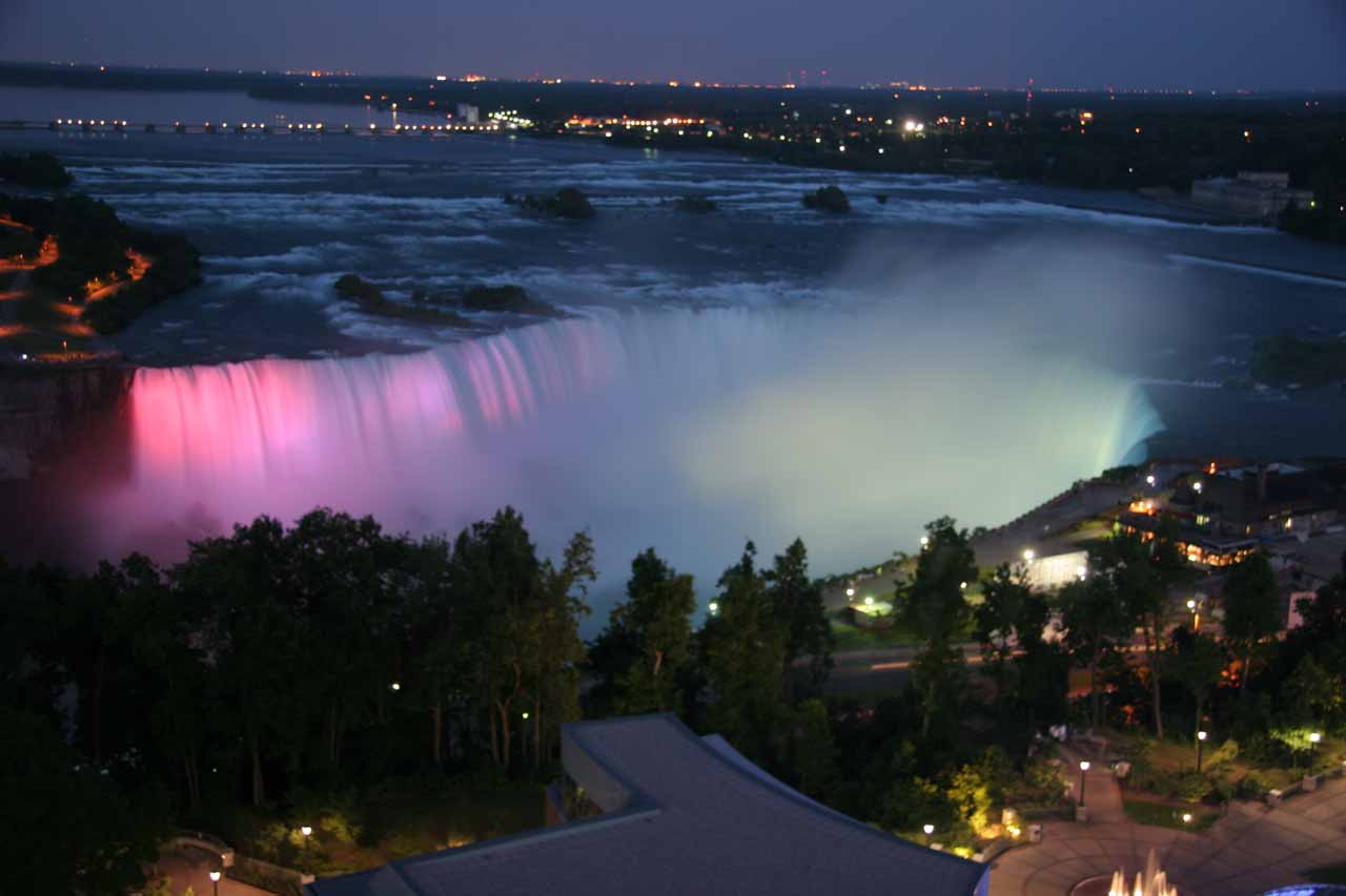 Looking down at Niagara Falls during twilight