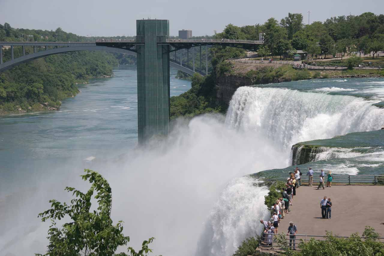 Looking Along The Brink Of American Falls
