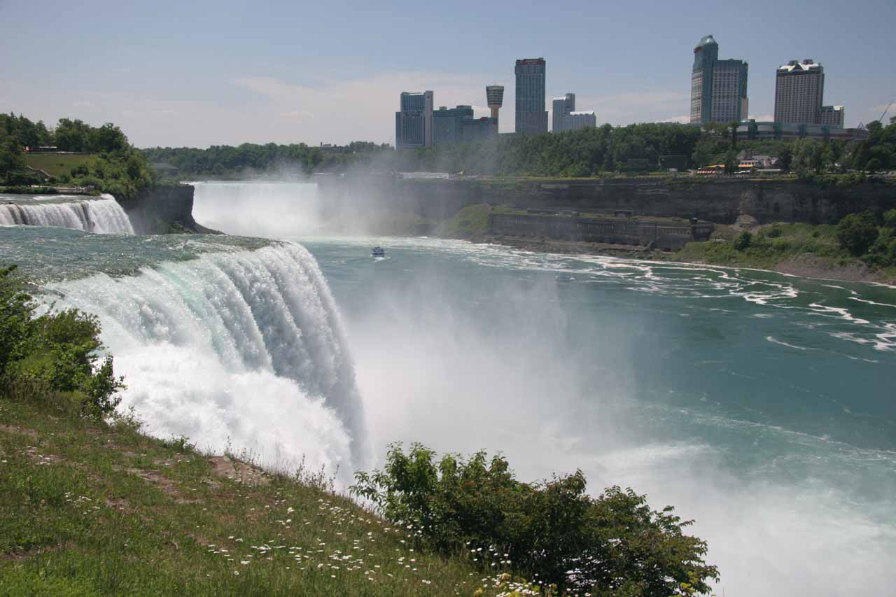 Looking past American Falls towards Horseshoe Falls and the Canadian side