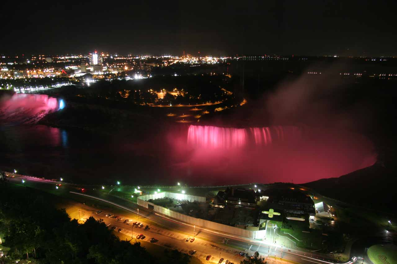 Looking down at Niagara Falls being floodlit at night on our last night
