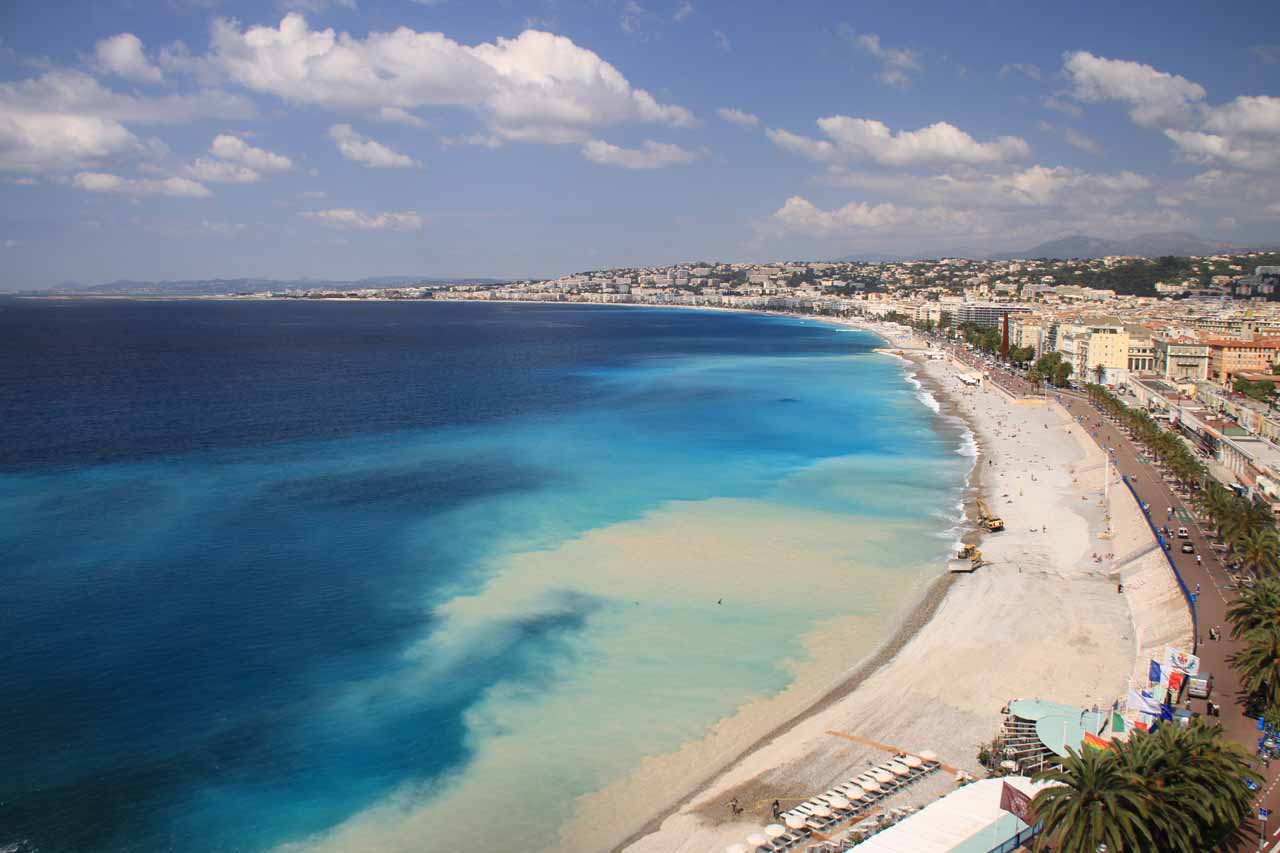 Prior to visiting Cascade de Courmes, we visited Nice with its coarse-sand beach fronting the azure blue waters of the Mediterranean Sea