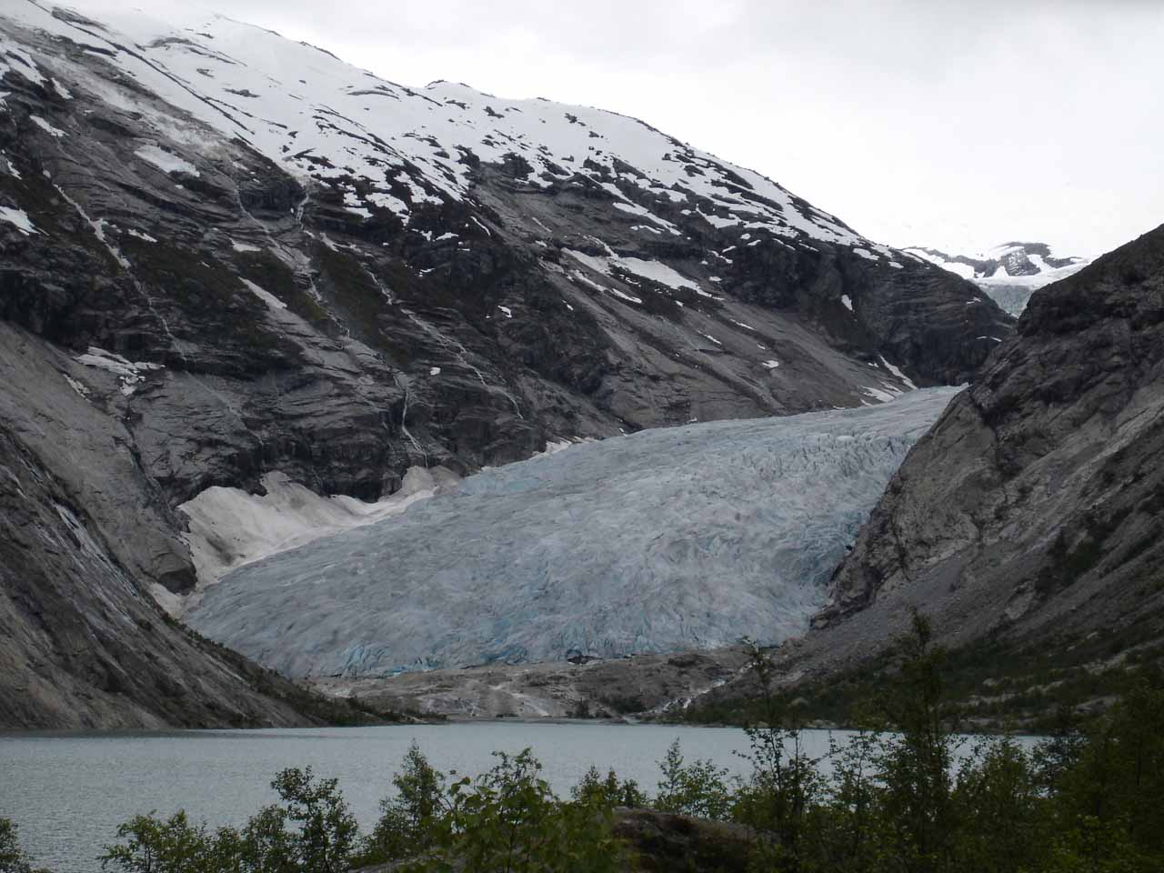 Julie's camera seemed to better capture the subtle blue color of the ice on the Nigardsbreen