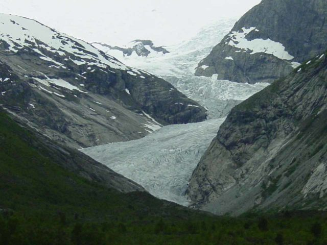 Nigardsbreen_022_06282005 - Probably the highlight of our visit to Jostedalen was the glacier Nigardsbreen.  It was too bad the weather was a bit gloomy otherwise the glacier's hues would have really stood out!