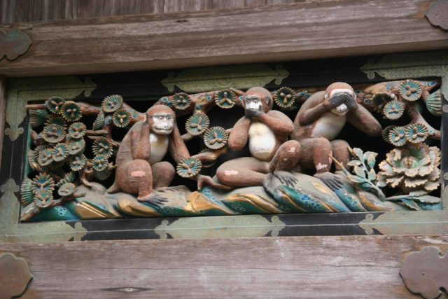Nikko_055_05232009 - The Wise Monkeys of the Sacred Stable - i.e. hear no evil, speak no evil, see no evil.  One of many attractions in the Nikko's UNESCO World Heritage area