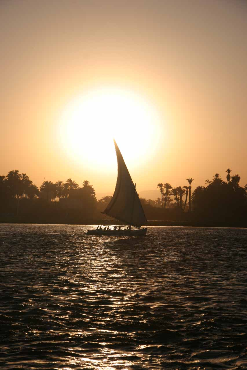 Feluccas on the Nile as the sun was setting