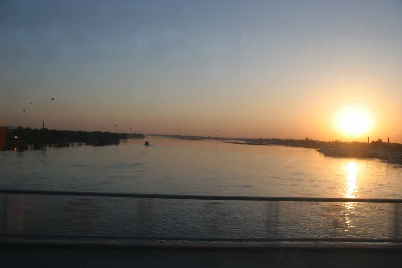 Crossing the Nile as the sun was rising