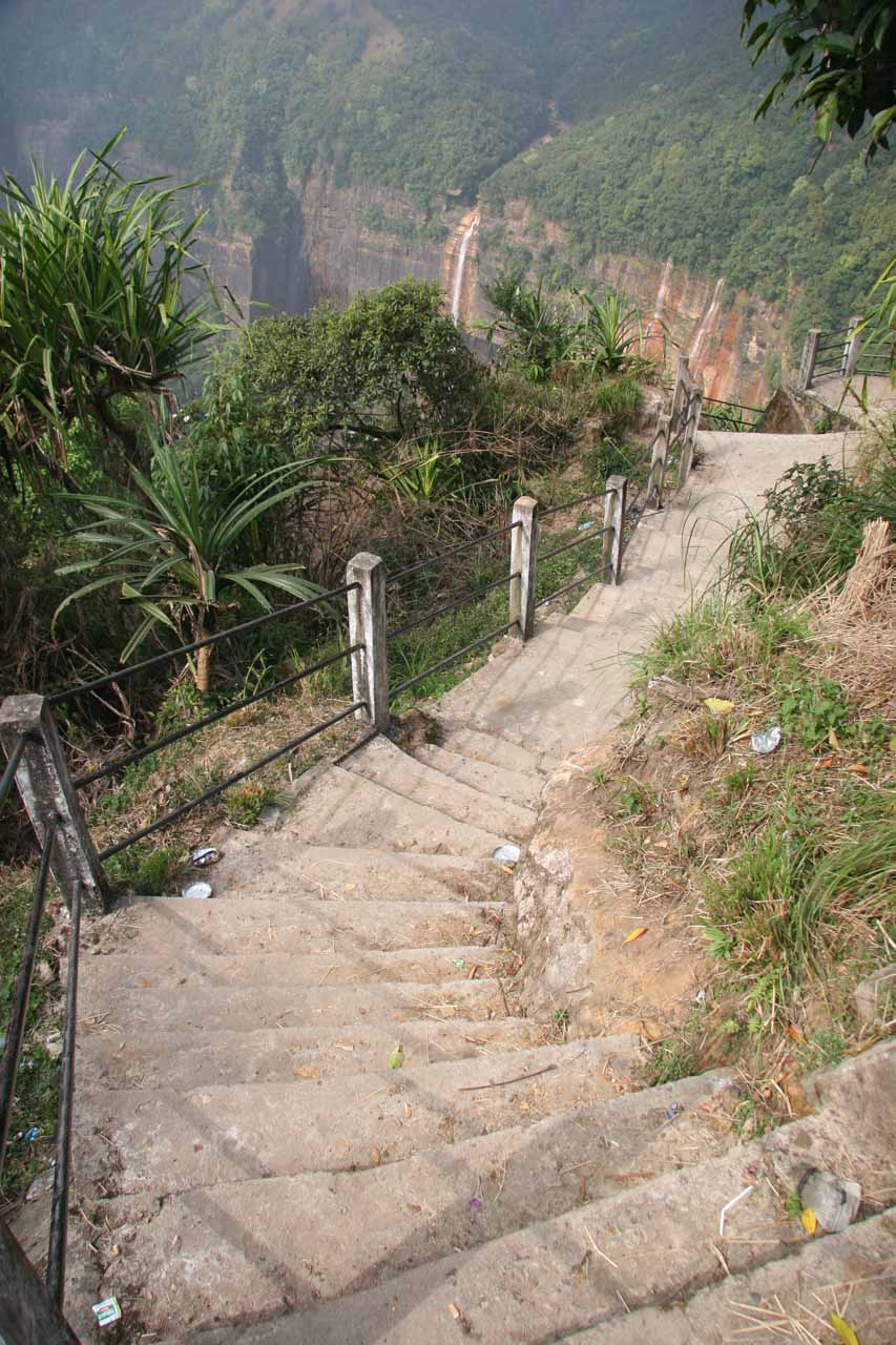 Starting to go down the stairs leading towards the base of Nohkalikai Falls