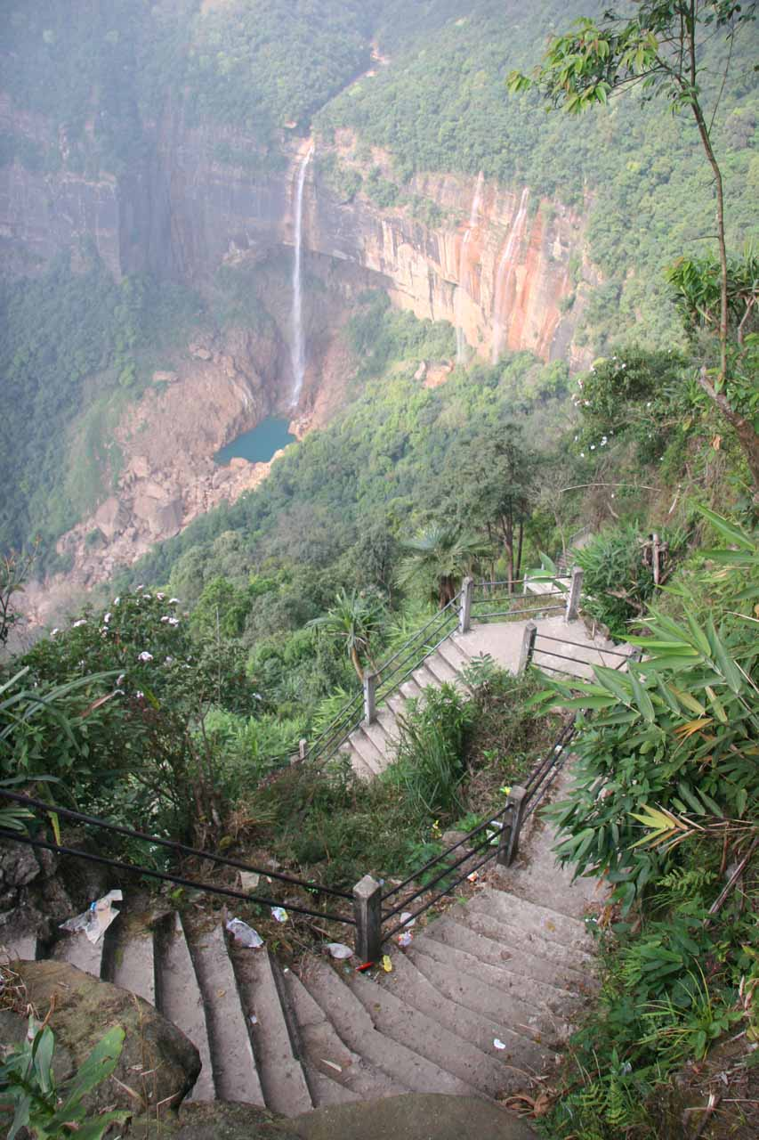 The stairs descended steeply as it got closer to the base of Nohkalikai Falls