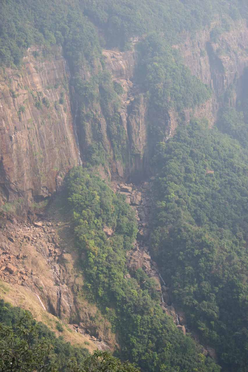 Zoomed in partial view of the Nohsngithiang Fallss to show there's still some of the falls left when we were there