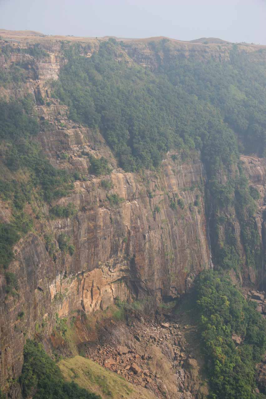 The mostly bare wall that was supposed to have the Seven Sisters Waterfall - Nohsngithiang Falls