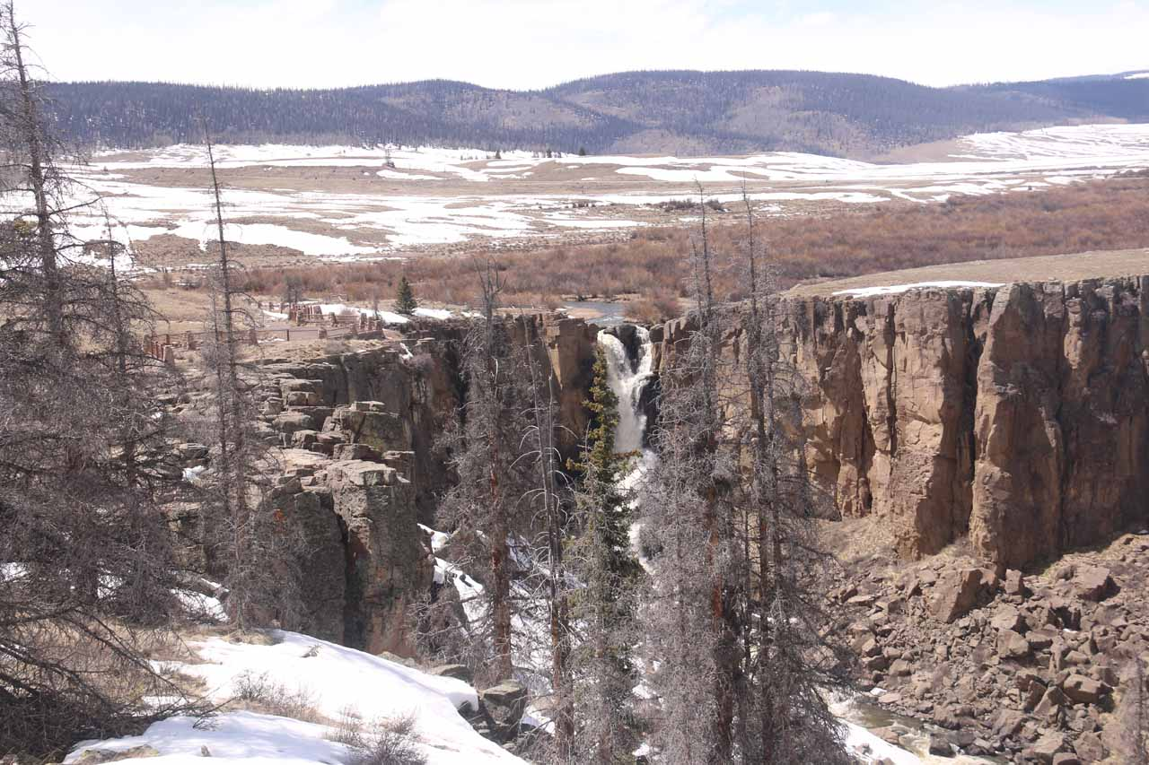 More distant look at the North Clear Creek Falls