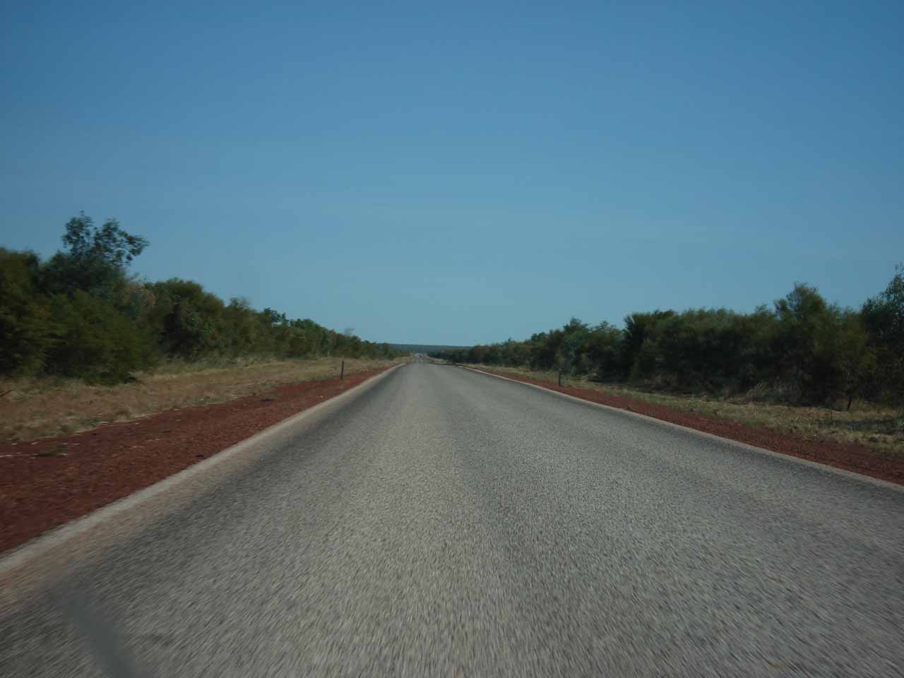 Long drive on the Northern Highway between Broome and Port Hedland