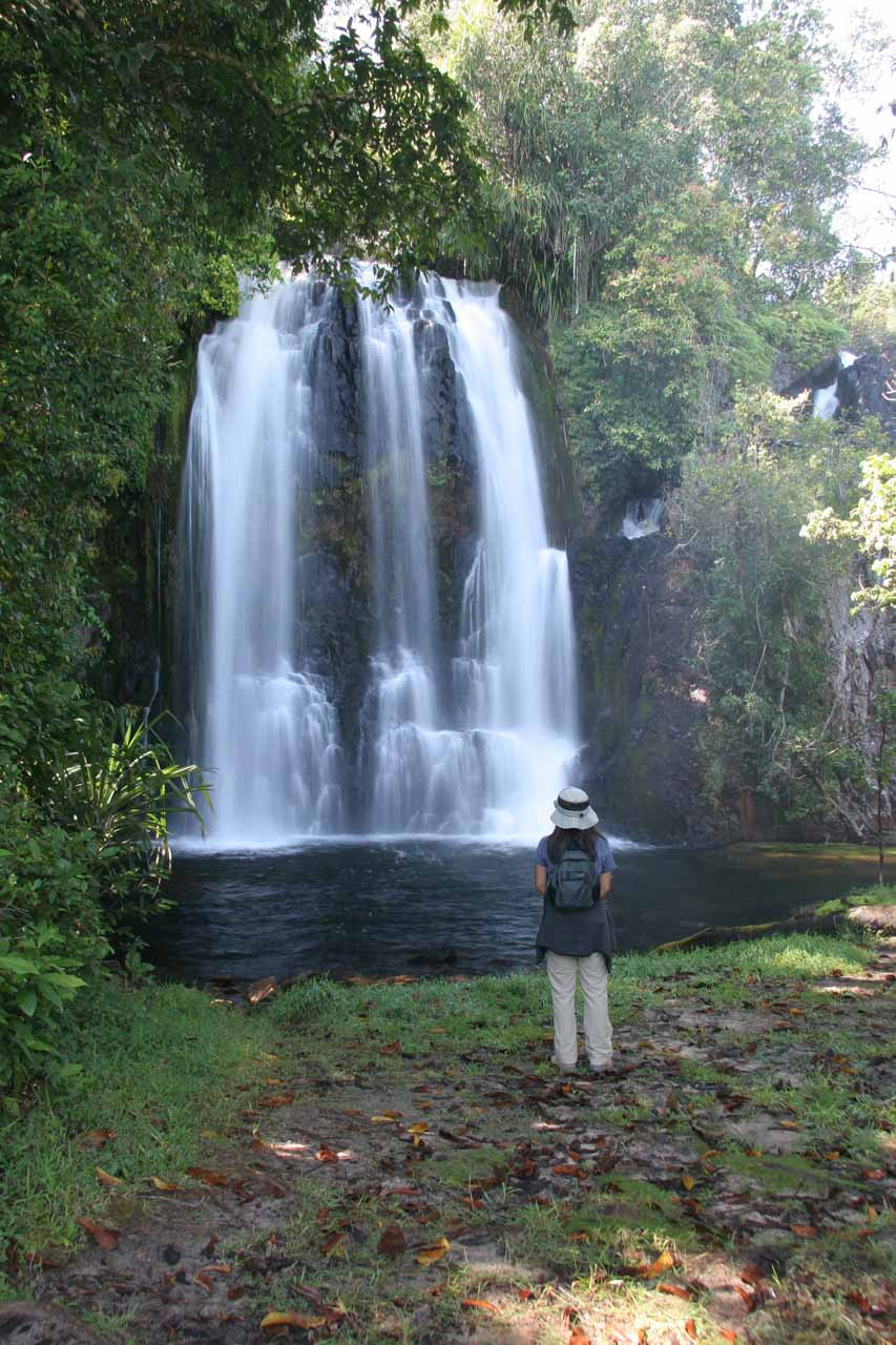 Julie checking out the first of the Ntumbachushi Falls