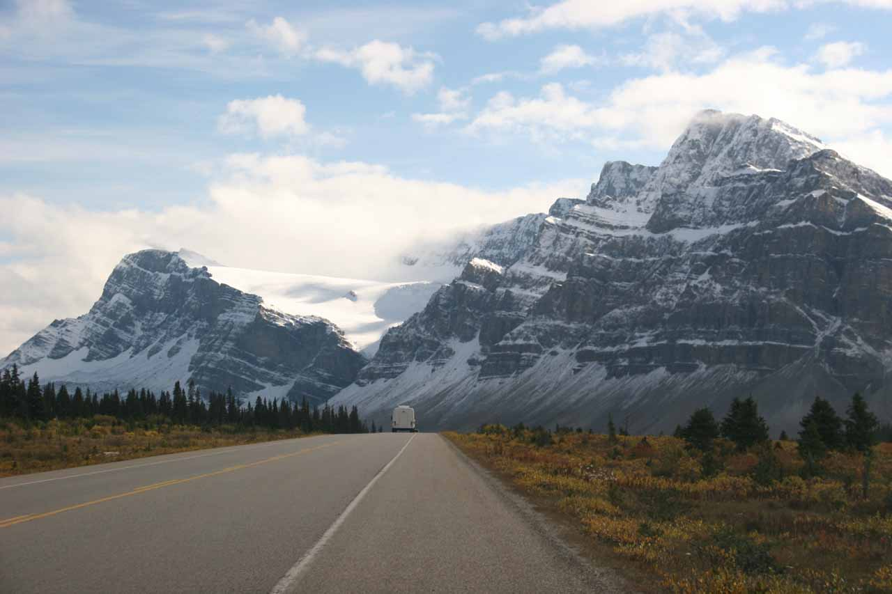 The Icefields Parkway now looking dramatic with the clouds clearing