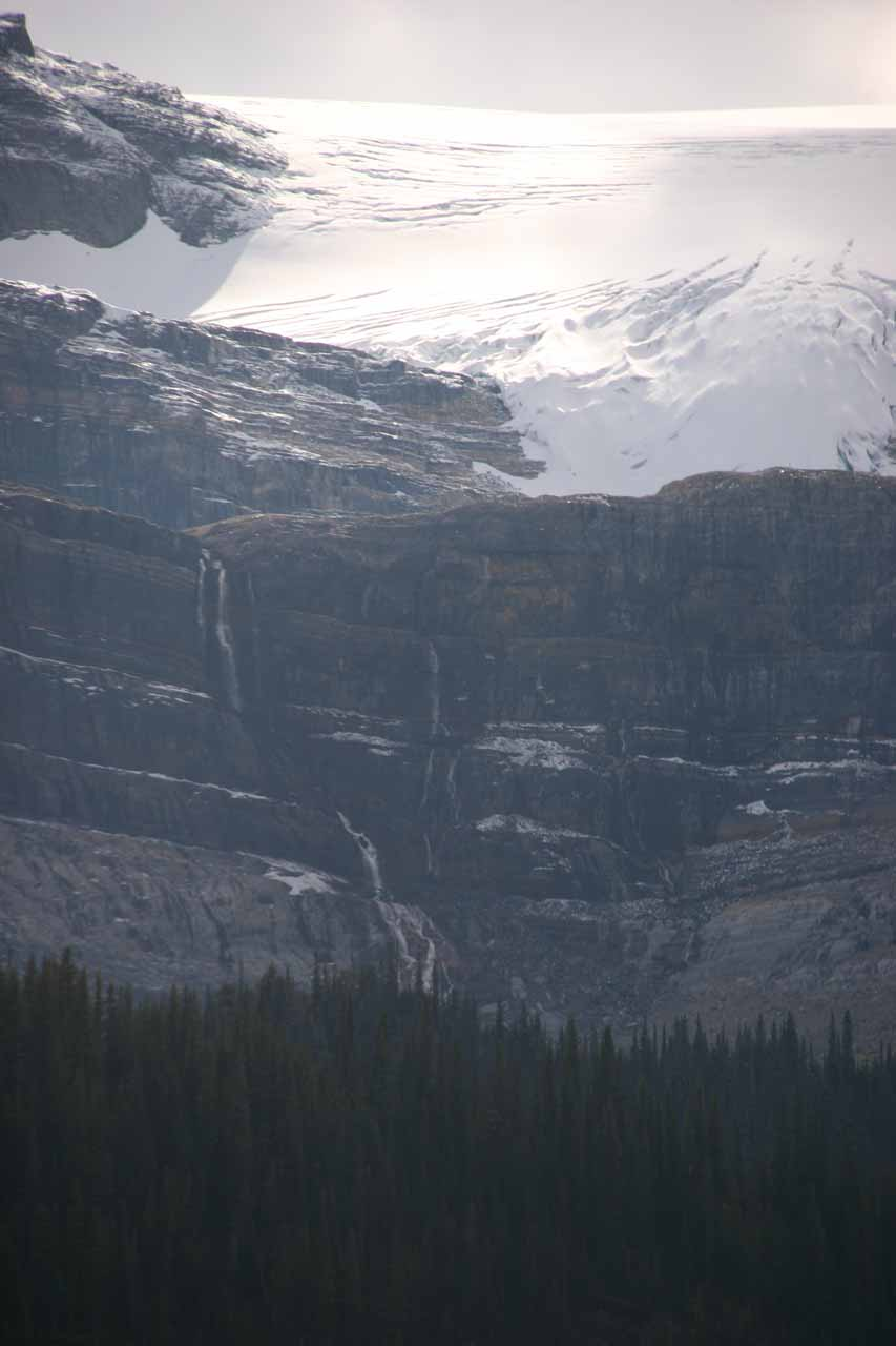 Another look at Bow Glacier Falls against the sun