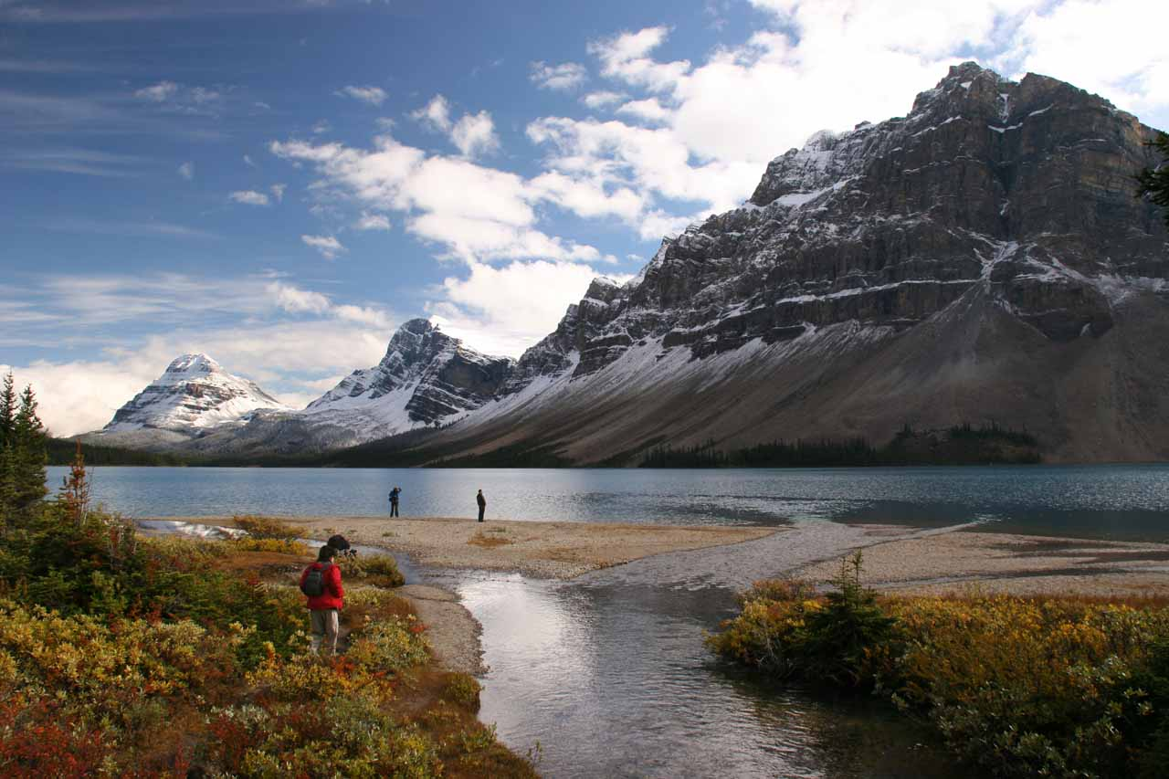 Julie accessing the shores of Bow Lake