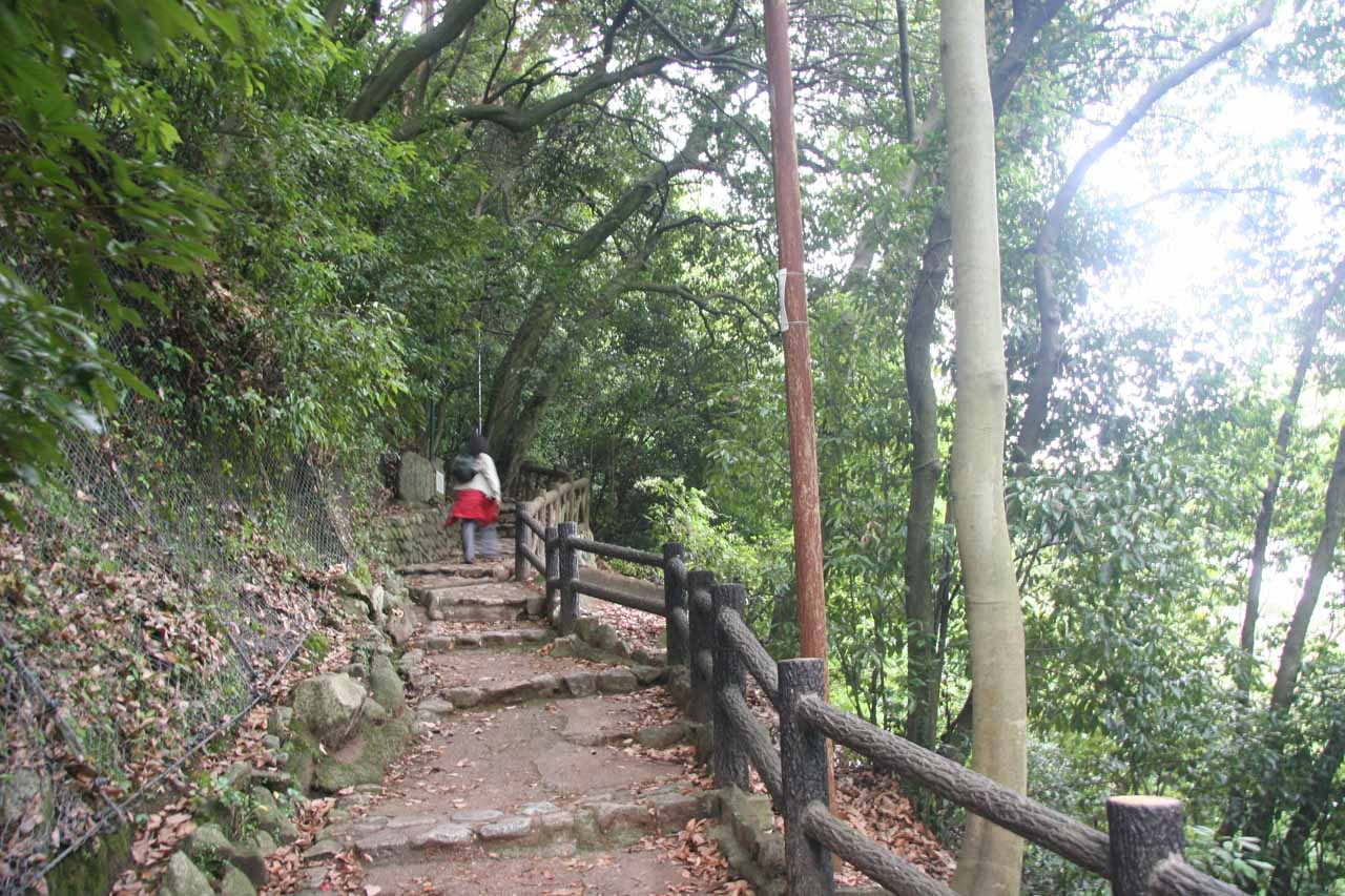 The mostly uphill walking path