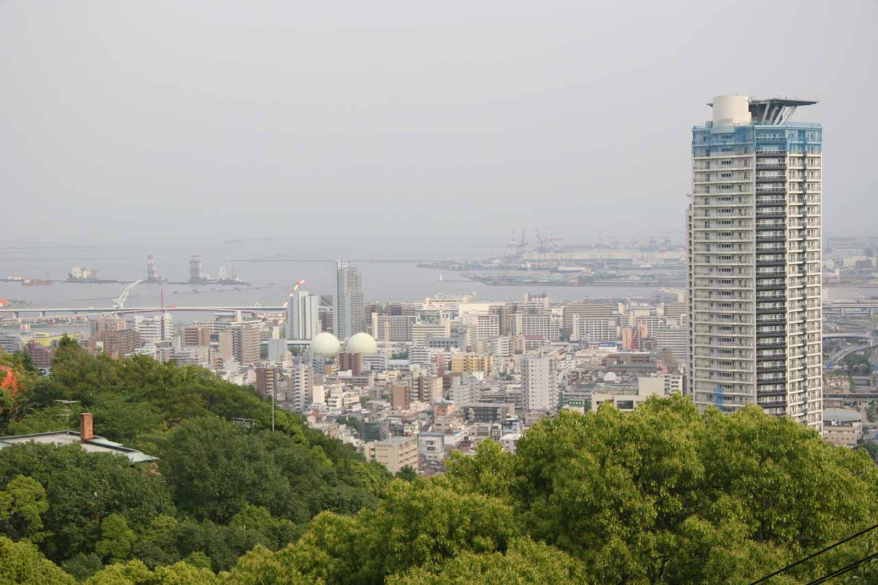 As we hiked further up above the Nunobiki Waterfalls, we got this panorama of the city of Kobe and its harbor