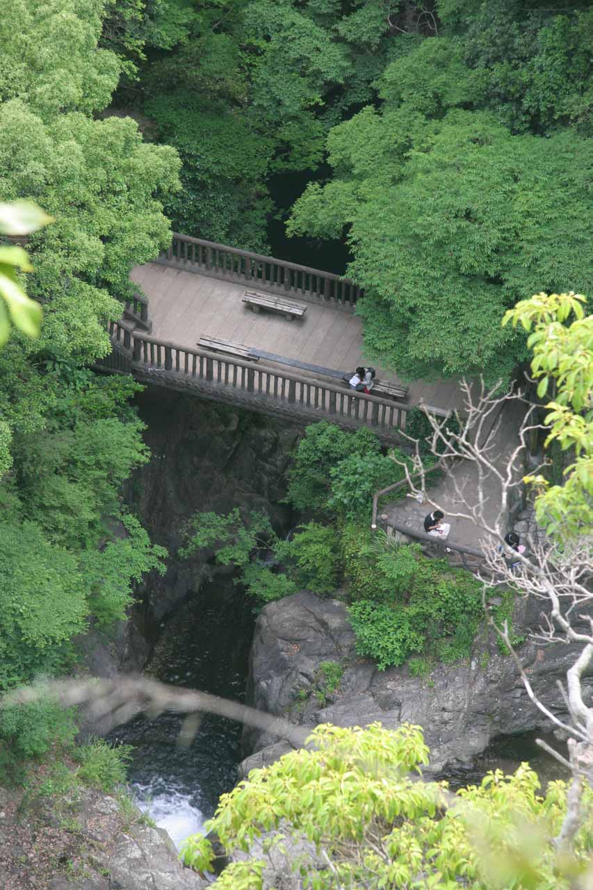 Looking down from the top of the fourth Nunobiki Waterfall towards the viewing area before it