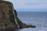 Ocean_Waterfall_telephoto_034_08142021 - Looking towards the Migandifoss Waterfall with boat still fronting it for a sense of scale