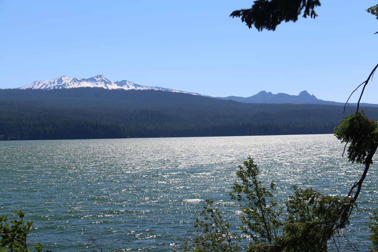 During the long drive between Medford and Salt Creek Falls Recreational Area, while on Hwy 58, we passed by the attractive Odell Lake, which was backed by the shapely Diamond Peak