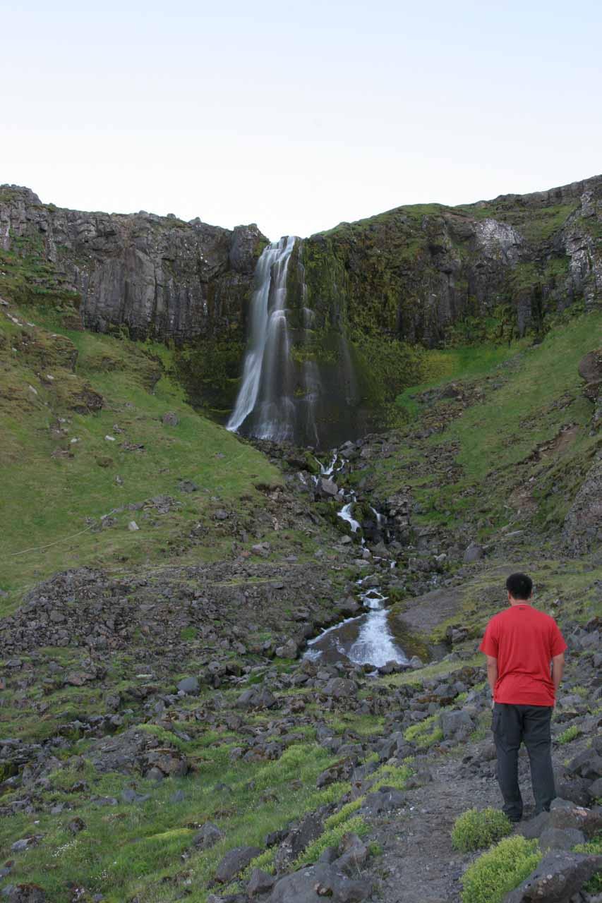 Me approaching Bæjarfoss