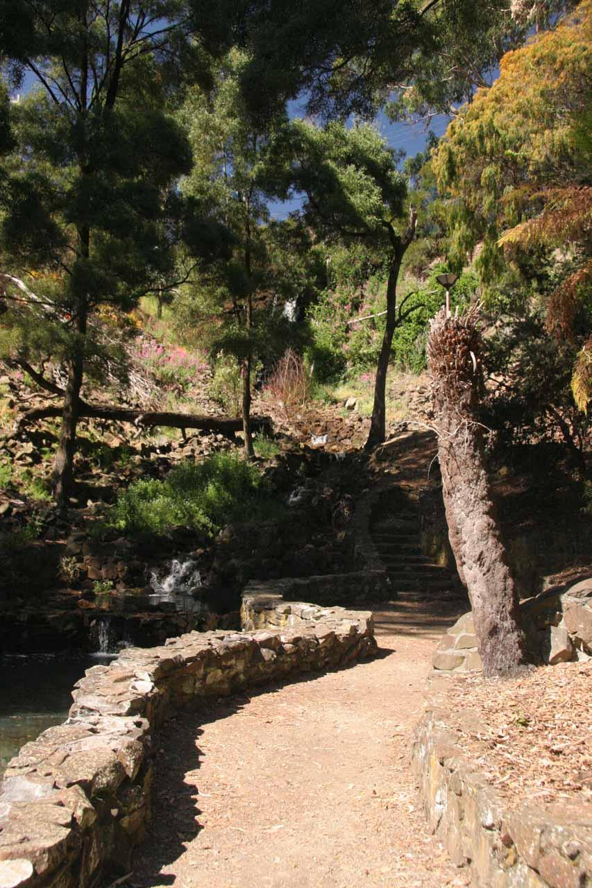 The well-developed walkway alongside Stoney Creek