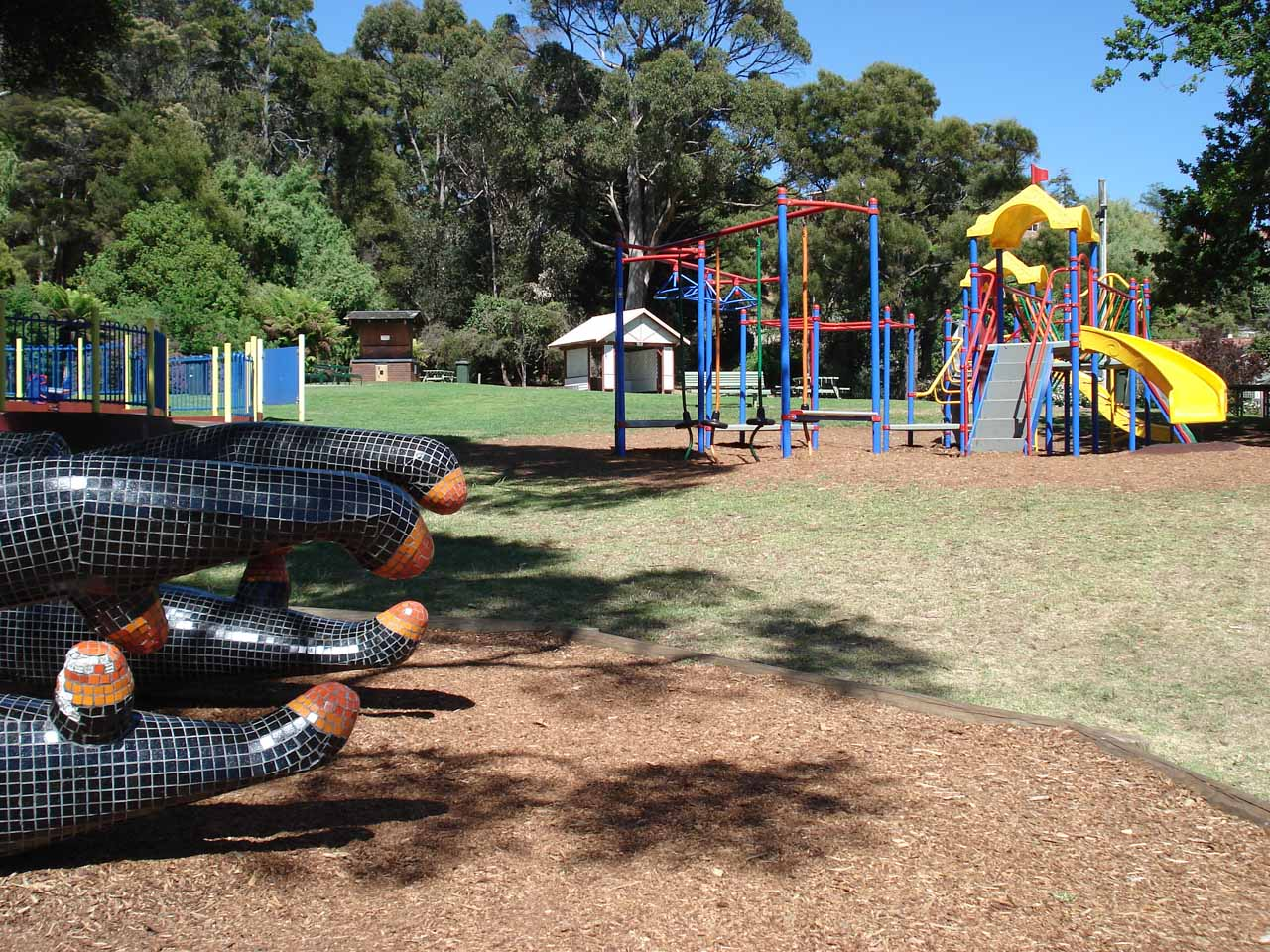 A kid-friendly jungle gym in Burnie Park