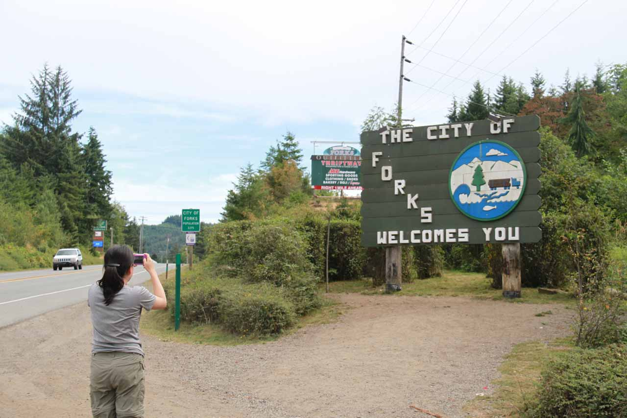 Entering the town of Forks