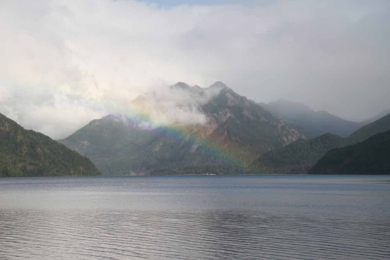 On the way to the western side of the Olympic Peninsula, we drove by this large lake called Lake Crescent, where we caught this rainbow as the storm was calming down