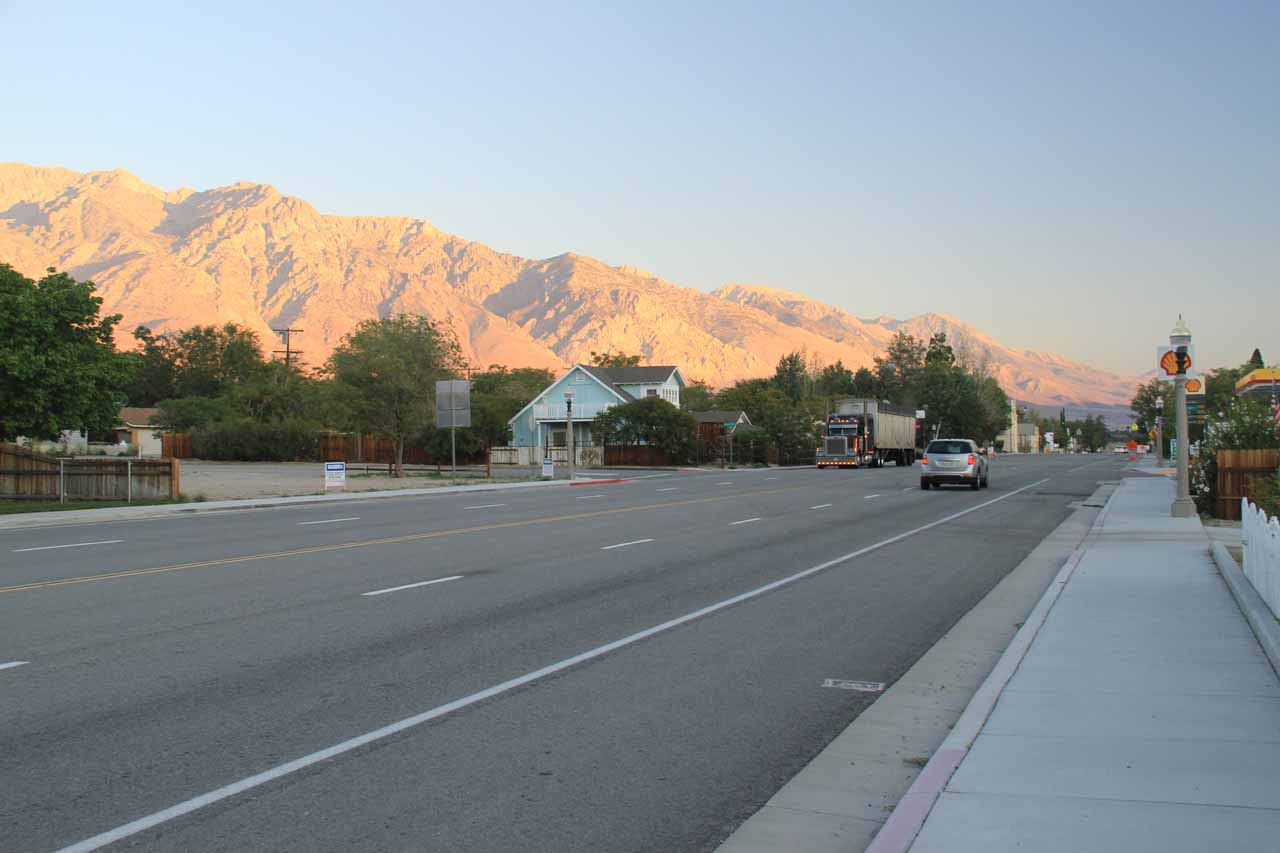 Looking down the Hwy 395 in Independence with the morning glow on the Eastern Sierras