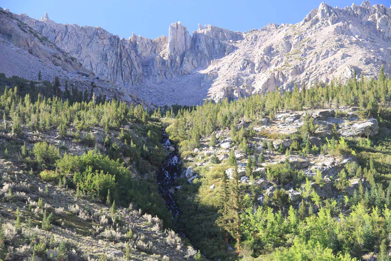 Contextual look at the Onion Valley Waterfall backed by some peaks