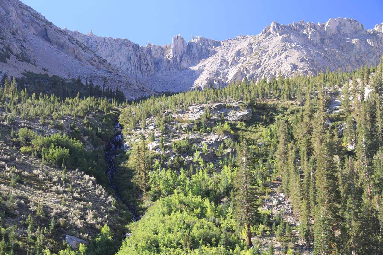 A different contextual look at the Onion Valley waterfall with peaks in the background