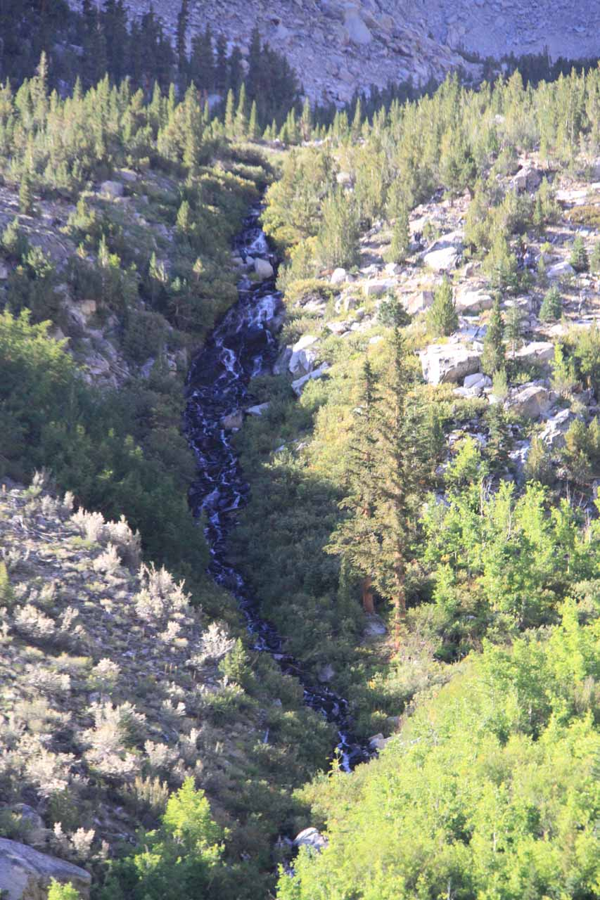 Closer look at the Onion Valley Waterfall through the shadows