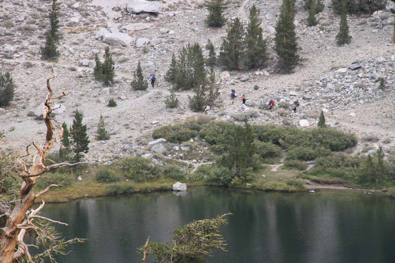 Looking down at other hikers across from Gilbert Lake from the Matlock Lake spur