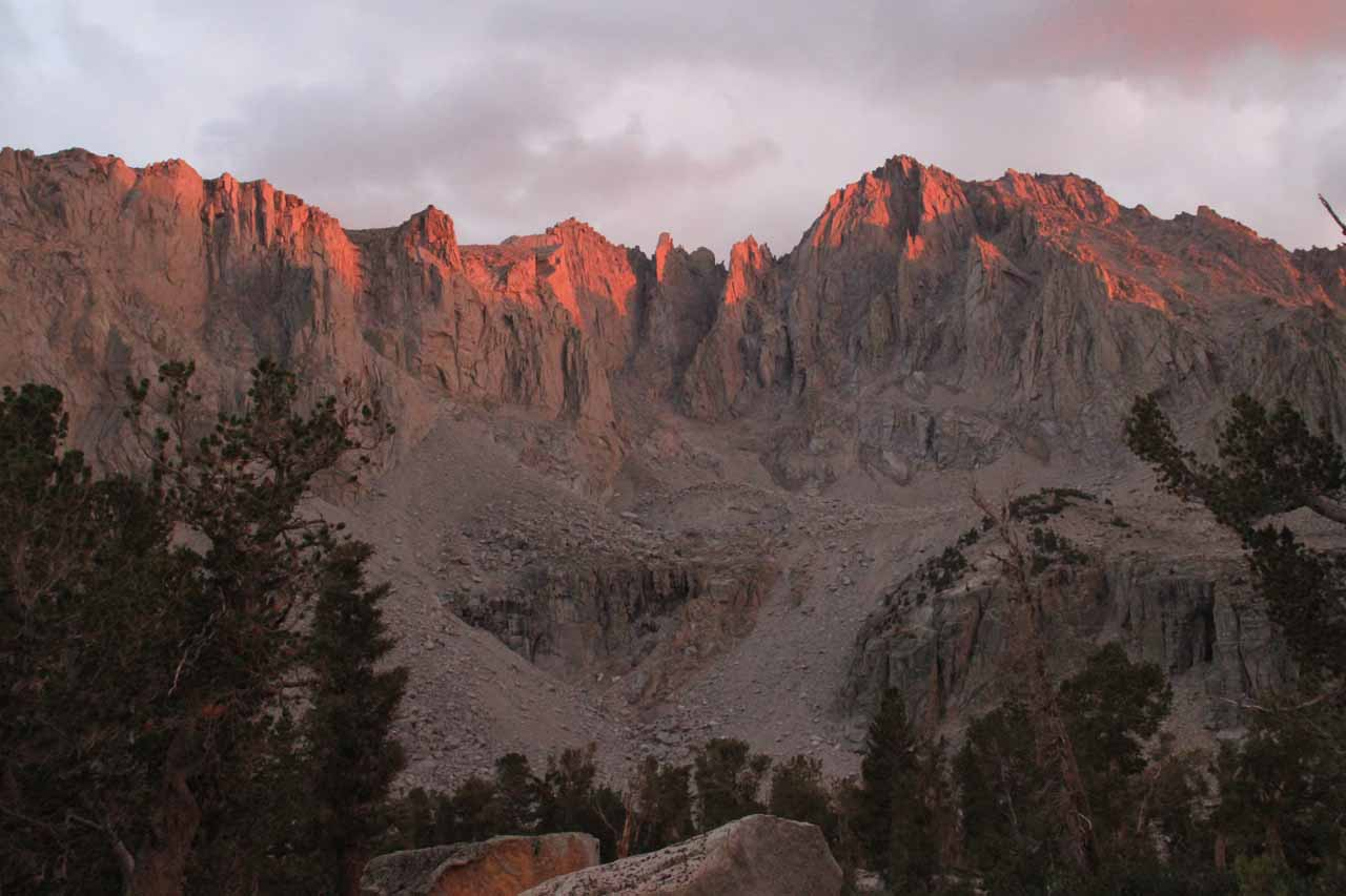 The near alpenglow at the tops of the peaks facing our camp