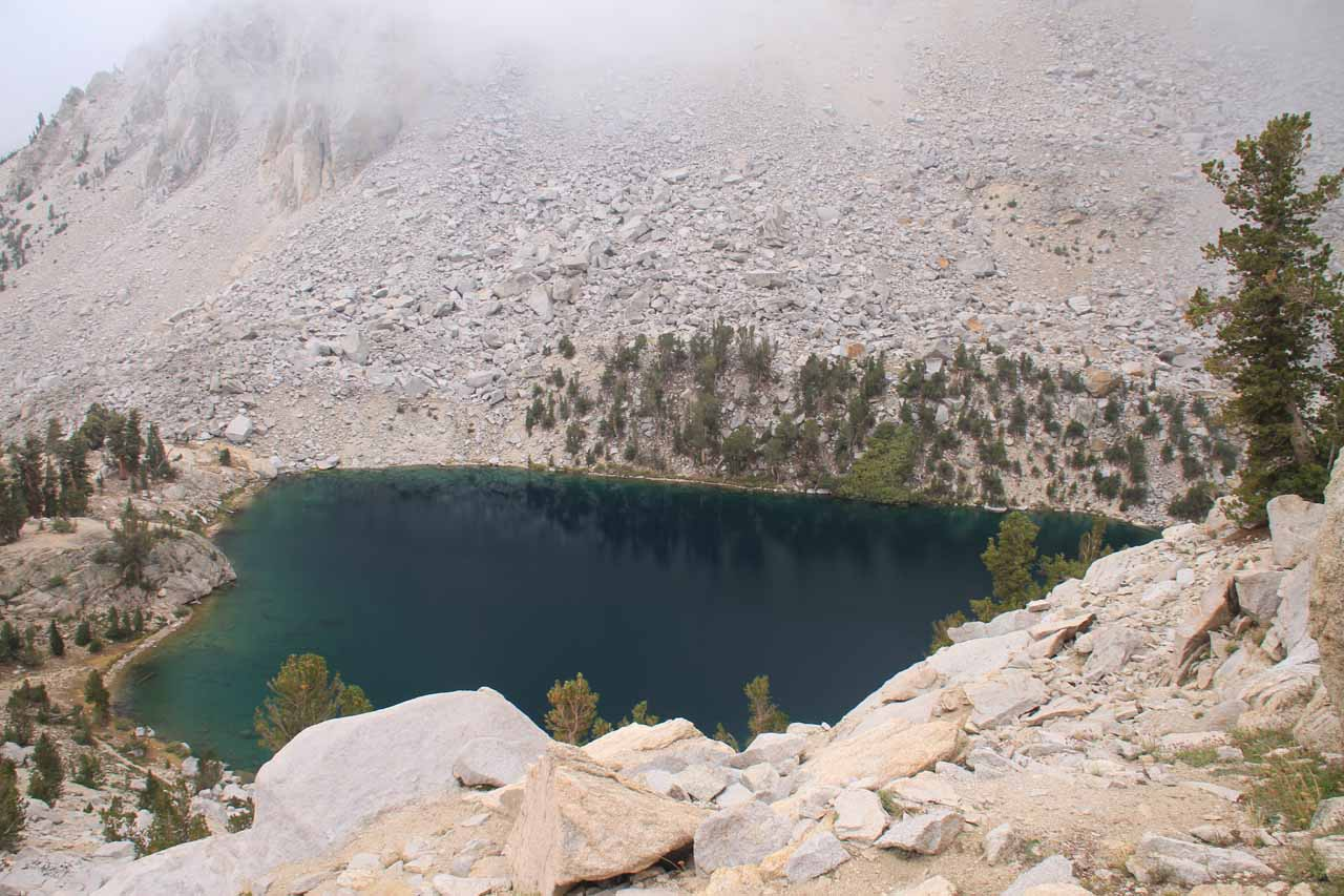 Heart Lake and low clouds above