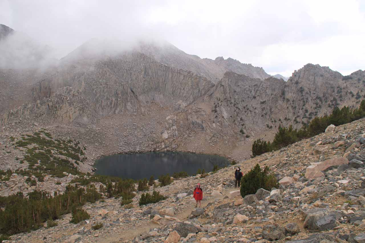 Big Pothole Lake as seen from one of the long switchbacks near Kearsarge Pass