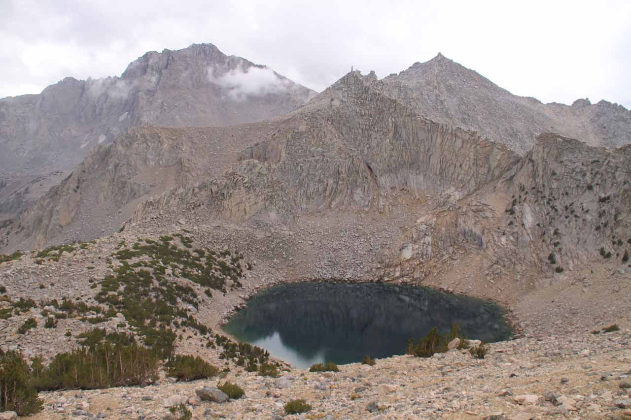 Looking down at Big Pothole Lake as I was getting very close to Kearsarge Pass